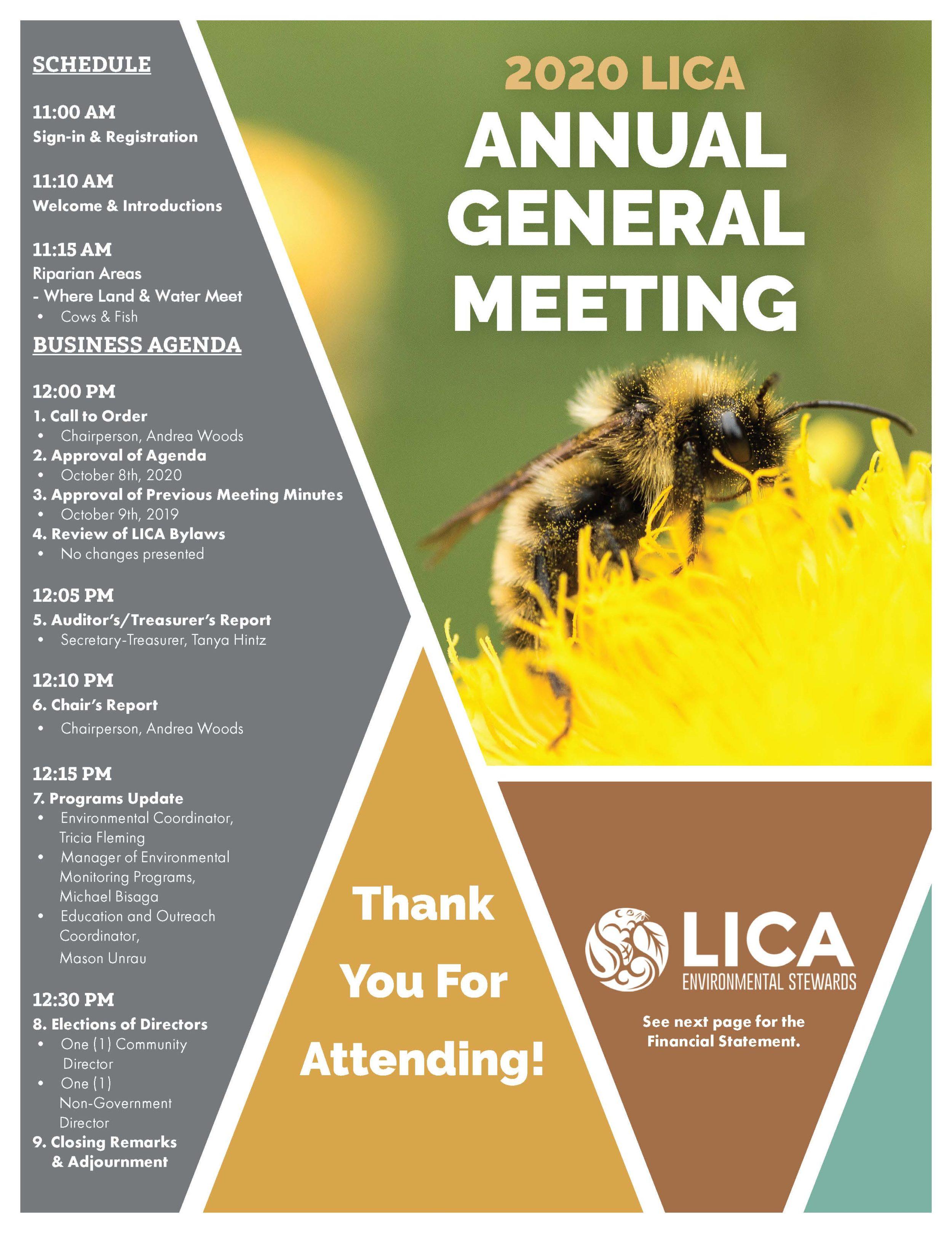 LICA Environmental Stewards 20th Anniversary AGM